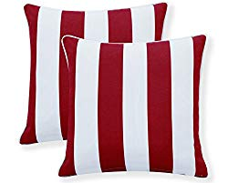 Ornavo Home Water Resistant Indoor/Outdoor Square Patio Decorative Stripe Throw Pillow Cushion – Insert Included – Set of 2 – 18″ x 18″ – Red