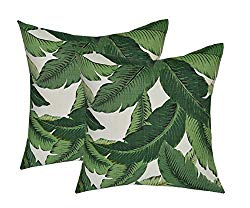 RSH DECOR Set of 2 – Indoor/Outdoor 17″ Square Decorative Throw/Toss Pillows – Made with Tommy Bahama Swaying Palms – Aloe – Green Tropical Palm Leaf