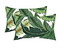 RSH DECOR Set of 2 Indoor/Outdoor Decorative Lumbar/Rectangle Pillows – Made with Tommy Bahama Swaying Palms – Aloe – Green Tropical Palm Leaf
