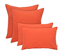 RSH Décor Set of 4 Indoor/Outdoor Square & Rectangle Lumbar Throw Pillows Sunbrella Canvas Melon ~ Vibrant Orange (12″ x 20″ & 17″ x 17″)