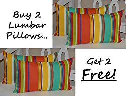 Set of 2 – Indoor / Outdoor Decorative Lumbar / Rectangle Pillows + 2 Free – Bright / Colorful Coral, Turquoise, Green, Blue, Yellow Stripe