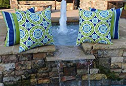 Set of 4 – Indoor / Outdoor 20″ Square Decorative Throw / Toss Pillows – Green, Blue, Yellow, White Bohemian Floral Sundial & Coordinating Stripe