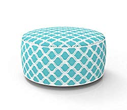 Fabritones Outdoor Inflatable Stool Blue Round Ottoman Portable Foot Rest for Patio, Camping Home Yoga – Suitable for Kids and Adults