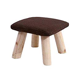 Kylin Express Household Stool Footstool Bench Seat Foot Rest Ottoman Detachable Cover, 4 Legs, Coffee