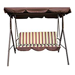 UHOM 3-Person Outdoor Porch Swing Chair 3 Seats Patio Canopy Awning Yard Furniture Hammock Steel