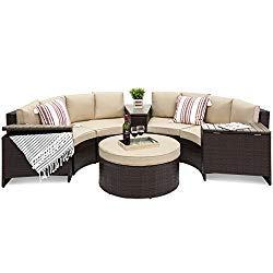 Best Choice Products 8-Piece Half Circle Wicker Sectional Sofa Set w/Waterproof Cushions, Wedge Storage Tables – Brown