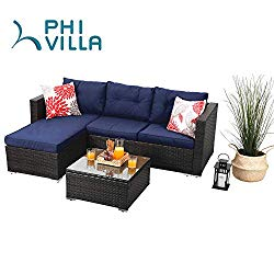 PHI VILLA Outdoor Rattan Sectional Sofa- Patio Wicker Furniture Set (3-Piece, Blue)