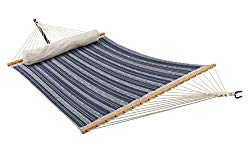 ELC Quilted Fabric Hammock 11 Feet, Outdoor Double Hammocks with Bamboo Spreader Bars, a Pillow and Chains and Steel Hooks, Blue Stripes
