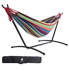 SUNCREAT Double Hammock with Steel Stand for 2 Person Includes Portable Carrying Case, 9 Feet-Tropical