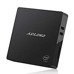 ADLOKO Z83-Pro Mini PC Windows 10, Intel x5-Z8350 Processor (4G+64G, HDMI & VGA/4K HD/Dual Band Wifi/1000Mbps LAN/BT4.0) Fanless Mini PC(64G)