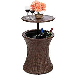 Best Choice Products 7.5-Gallon Outdoor All-Weather Wicker Patio Pool Cooler Bar Table w/Adjustable Top – Brown