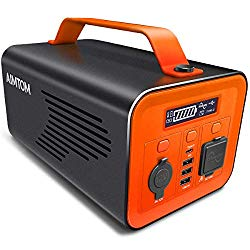 AIMTOM 230Wh 62400mAh Portable Power Station Solar Rechargeable Battery Pack Generator w/ 110V 200W AC Inverter, 12V DC Car, Type-C PD, 3 USB Outputs Pure Sine Wave Power Supply
