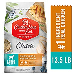 Chicken Soup for The Soul Large Breed Puppy Food- Chicken, Turkey & Brown Rice Recipe, Dry Dog Food, 13.5lb