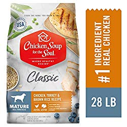 Chicken Soup for The Soul Mature Dog Food – Chicken, Turkey & Brown Rice Recipe, Dry Dog Food, 28lb
