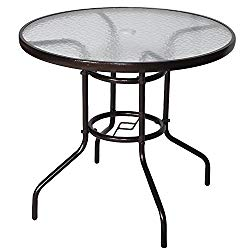 Cloud Mountain 32″ Outdoor Dining Table Patio Tempered Glass Table Patio Bistro Table Top Umbrella Stand Round Table Deck Garden Home Furniture Table, Dark Chocolate