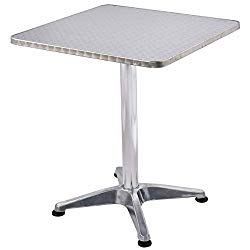 Custpromo Bistro Pub Table, 23 1/2″ Stainless Steel Tabletop Aluminum Column and Case, Outdoor Bistro Bar Table, Silver (Square)
