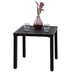 PHI VILLA Black Patio Table Metal Square Coffee Tea Bistro Table Small Side End Adjustable Outdoor Furniture Table,Black