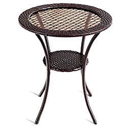 Tangkula 25″ Patio Wicker Coffee Table Outdoor Backyard Lawn Balcony Pool Round Tempered Glass Top Wicker Rattan Steel Frame Table Furniture W/Lower Shelf