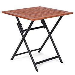 Tangkula Folding Patio Table, Wood Table Portable Patio Deck Garden Furniture Outdoor Indoor Card Tables, Folding Tray Table, Square Dining Table, Compact Picnic Table, Folding Teak Table