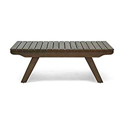 Great Deal Furniture 309177 Kailee Outdoor Wooden Coffee Table, Gray Finish