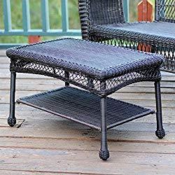 Jeco Wicker Patio Furniture Coffee Table in Espresso