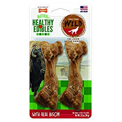 Nylabone Healthy Edibles Wild Bison Dog Treats | All Natural Grain Free Dog Treats Made In the USA Only | Small and Large Dog Chew Treats | 2 Count