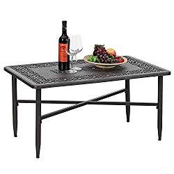 PHI VILLA 38.6″x23″ Outdoor Patio Retro Tea Table Cast Aluminum Rectangular Elegant Bistro Coffee Table – Frosted Surface