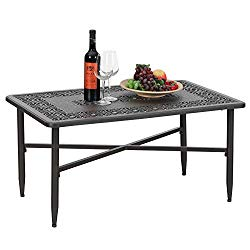 PHI VILLA Outdoor Patio Cast Aluminum 38.6″x23″ Rectangular Coffee Table – Frosted Surface