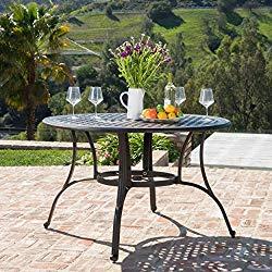 GDF Studio 300276 Calandra   Cast Aluminum Outdoor Circular Dining Table   in Bronze