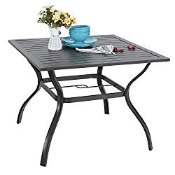 PHI VILLA 37″ x 37″ Outdoor Dining Table Square Patio Bistro Table Powder-Coated Steel Frame Top Umbrella Stand Deck Outdoor Furniture Garden Table, Ash Black