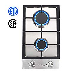 12″ Gas Cooktop, GASLAND Chef GH30SF 2 Burners Built-in Gas Hob, 12 Inch Stainless Steel Propane Natural Gas Stovetop, LPG/NG Convertible Gas Range, Gas Cooker with Thermocouple Protection
