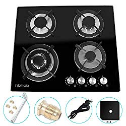 24″ inches Gas Cooktop Tempered Glass Built in Gas Stove 4 Burners Gas Stoves Cooktop (4 Sealed Burners) Stove Burner Cast Iron Grate Stove-Top LPG/NG Dual Fuel Thermocouple Protection and Easy to Cle