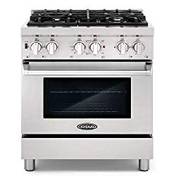Cosmo DFR304 30 in Slide-In Free-standing Dual Fuel Range | Pro-Style 4 Sealed Burner Gas Rangetop , 3.9 cu. ft. Electric Convection Oven and Stove Cast Iron Grate Wok Attachment – Stainless Steel