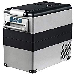 COSTWAY Car Freezer, 53-Quart Portable and Compact RV Fridge, -4°F To 68°F, Electric Compressor Refrigerator Cooler with Operating Panel, Groove Design, for Vehicle, Travel, Outdoor and Home Use