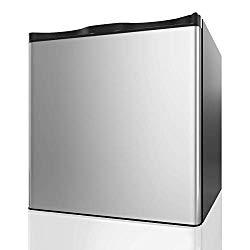 COSTWAY Compact Single Door Upright Freezer – Mini Size with Reversible Stainless Steel Door – 1.1 CU FT Capacity – Adjustable Removable Shelves