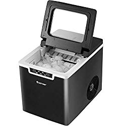 COSTWAY Countertop Ice Maker, 26LBS/24H Portable Electric Ice Machine, 9 Bullet Ice / 8 Min, Intelligent Alarm System, with Ice Scoop and Basket, for Homes, Offices, Restaurants, Bars, Black