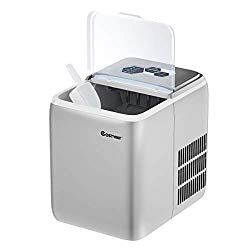 COSTWAY Ice Maker Countertop with Self-clean Function, Make 44 Lbs Ice in 24 Hours, Ice Cubes Ready in 8.5 Mins, Ideal for Bar Home and Office, Portable Ice Machine with Ice Scoop and Basket, Sliver