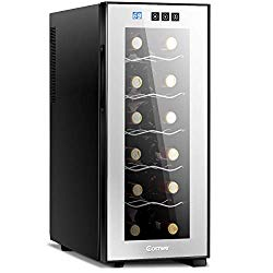 COSTWAY Thermoelectric Wine Cooler, 12 Bottles Freestanding Champagne Chiller, Counter Top Wine Cellar, with Digital Temperature Display, Smoked Glass Door, Quiet Operation Fridge, Black