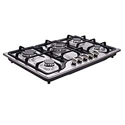 Deli-kit DK257-A01 30″ LPG/NG Gas Cooktop gas hob stovetop 5 burners Dual Fuel 5 Sealed Burners Built-In gas hob Stainless Steel 110V AC pulse ignition gas Cooker gas stove with cast iron support