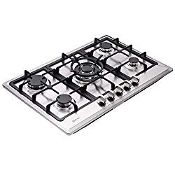 Deli-kit DK257-A02 30″ LPG/NG Gas Cooktop gas hob stovetop 5 burners Dual Fuel 5 Sealed Burners Built-In gas hob Stainless Steel 110V AC pulse ignition gas Cooker gas stove with cast iron support
