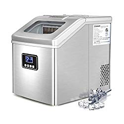 Euhomy Ice Maker Machine Countertop, 40Lbs/24H Portable Compact Ice Cube Maker with Ice Scoop And Basket Perfect For Your Home.