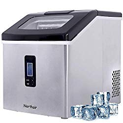 Northair Ice Maker Countertop with 40lbs/Day (500 Cups Drinks), 24pcs Ice Cube Produce in 15 Minutes, Compact Ice Make Machine Ma
