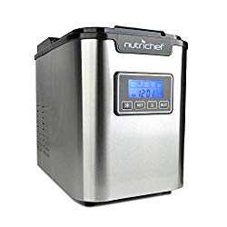 NutriChef Countertop Ice Maker – Portable Ice Cube Machine | Digital LCD Display | Adjustable Ice Cube Size | Stainless Steel (AZPICEM62)