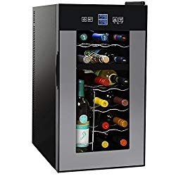 NutriChef PKTEWCDS1802 18 Bottle Dual Zone Thermoelectric Wine Cooler – Red and White Wine Chiller – Countertop Wine Cellar – Freestanding Refrigerator with LCD Display Digital Touch Controls