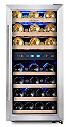 """Phiestina Dual Zone Wine Cooler Refrigerator – 33 Bottle Free Standing Compressor Fridge and Chiller for Red and White Wines – 16"""" Glass Door Wine Refrigerator with Digital Memory Temperature Control"""