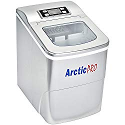 PORTABLE DIGITAL ICE MAKER MACHINE by Arctic-Pro with Ice Scoop, First Ice in 8 Minutes, 26 Pounds Daily, Great for Kitchens, Tailgating, Bars, Parties, Small/Large Cubes, Silver, 11.5×8.7×12.5 Inches