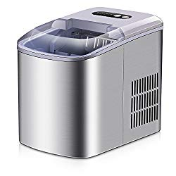 Portable Ice Maker – Stainless Steel Countertop Ice Maker Machine, Get 9 Ice Cubes in as quick as 6 Minutes,Makes Over 26 lbs of Ice per Day