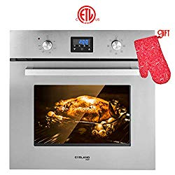 Single Wall Oven, GASLAND Chef ES609DS 24″ Built-in Electric Ovens, 240V 2800W 2.3Cu.f 9 Cooking Functions Convection Wall Oven, Digital Display, Mechanical Knob Control, Stainless Steel Finish