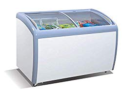 Tiger Chef Commercial Angle Curved Top Chest Freezer Glass Top, Deep Ice Cream Freezer with 2 Wire Baskets, Adjustable Thermostat, Locking Coasters, 9 Cubic Feet, White