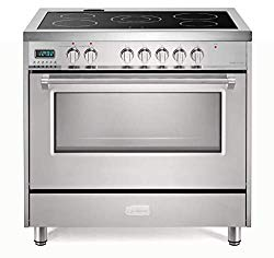 Verona Designer Series VDFSEE365SS 36 Inch 5.0 Cu Ft Electric Range Oven 5 Burners Dual Center Element Smoothtop Black Ceramic Cooktop Convection Stainless Steel